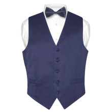 Men's Solid NAVY BLUE SILK Dress Vest BOW TIE Set