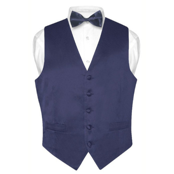Men's Solid NAVY BLUE SILK Dress Vest BOW TIE Set