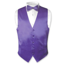 Solid PURPLE SILK Dress Vest Bow Tie Set