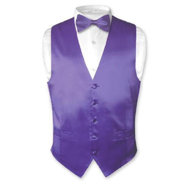 Solid PURPLE SILK Dress Vest Bow Tie Set