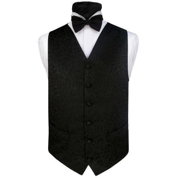 Men`s fashion black evening waistcoat