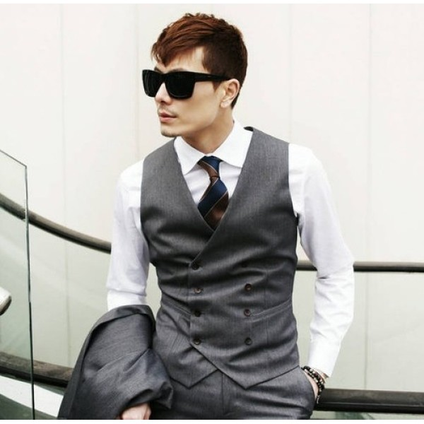 Men's Casual Double-breasted Vests Black Grey Sleeveless Vests
