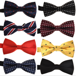 Custom Printing High Quality Elegant Pre-tied Men's Bowtie Set Wedding Polyester BowTie for Men