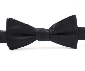 Mens 100% Handmade Pure Silk Wedding  Understated Luxury Solid black bow tie