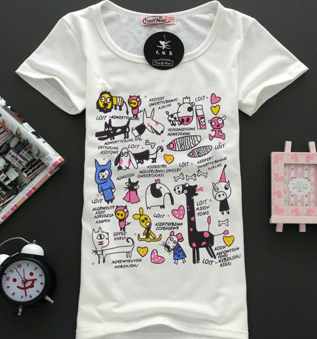 Animal images printing t shirt for girls latest design 100 for Wildlife t shirts wholesale