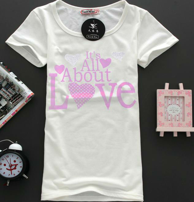 100 cotton images printing t shirt for pink girls latest for Wholesale t shirt printing china