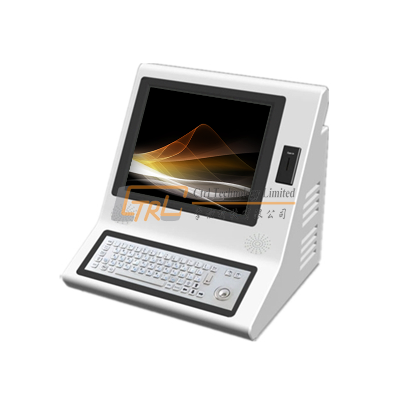 Self service countertop coin payment kiosk with metal keyboard