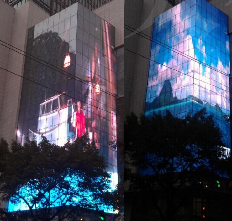 Super light weight building LED media facade