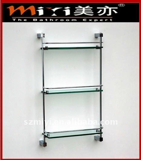 Bathroom 3 Tier Glass Shelf Chrome Brackets China Glass Shelf Manufacturer Miyi