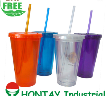 2013 new design BPA FREE plastic double wall promotion cup with straw