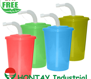 2013 new design BPA FREE kid plastic  promotion cup with straw
