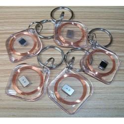 RFID钥匙扣菱形13.56MHZ高频ISO14443A协议MIFARE 1 S50水晶钥匙扣NFC透明卡