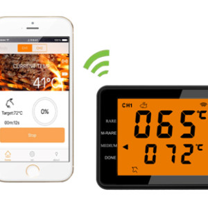 Wireless high low temperature probe thermometer LCD display & phones two ways operation
