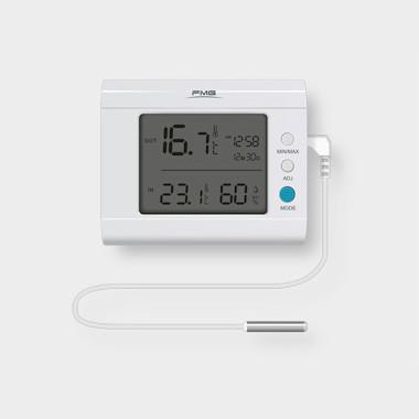 带时钟湿度显示室内外温度测量显示电子数字台式温度计外接3M线长温度传感器探头