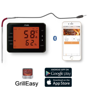 Wireless Bluetooth 2 probes BBQ Thermometer with Large LCD Display or Mobile Phone App operation