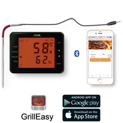 LCD液晶显示或app两用蓝牙烤肉温度计 带LED背光触摸屏LCD显示 厨房烤箱烤炉食物温度双不锈钢温度探针