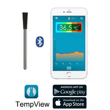 无线蓝牙探针动物体温肛温测量温度计记录仪体温表,手机App监视下载存储数据温度曲线表格