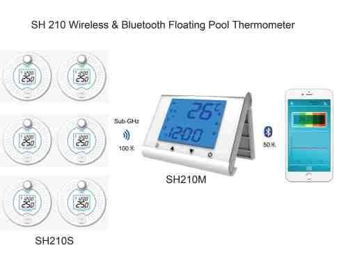 无线蓝牙远距离传输数字水温测量温度计记录仪手机App界面显示多点多通道水温测量存储高低温预警