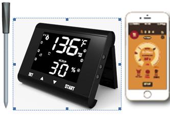 LCD屏显示触摸按键和手机操作两种方式无线远距离蓝牙传输烧烤烤肉烹饪烤箱烤炉探针温度计