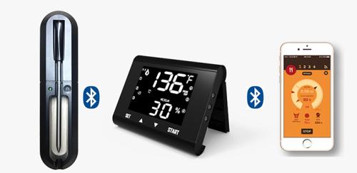 无线高温低温探针温度记录温度计LCD屏显示触摸按键和手机操作两种工作方式