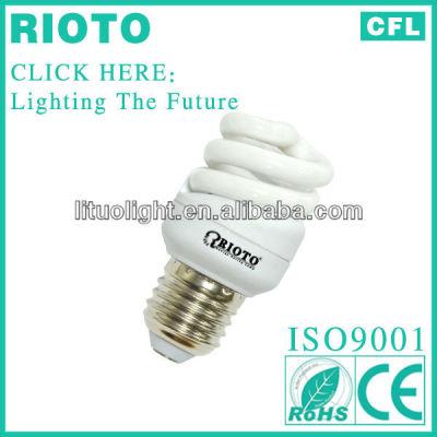 T2 7mm 7W E27 full spiral fluorescent lighting energy saving lamps CE.ROHS.SASO.ISO9001