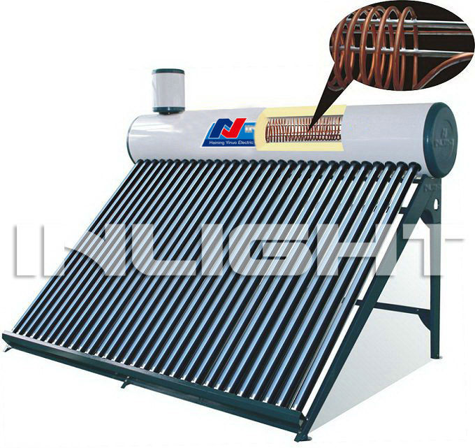 compact copper coil preheat solar water heater