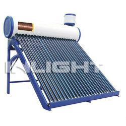 compact pressurized solar energy water heater copper coil inside