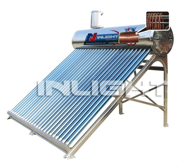 CE keymark certified compact solar water heater with copper coil