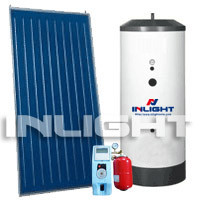 Split flat plate solar water heater