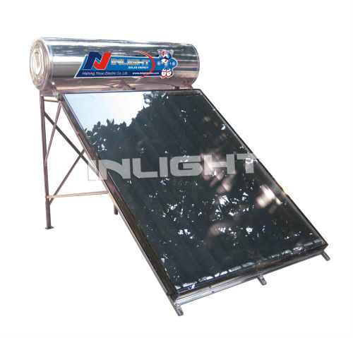integrated flat plate solar water heater with red copper as passageway
