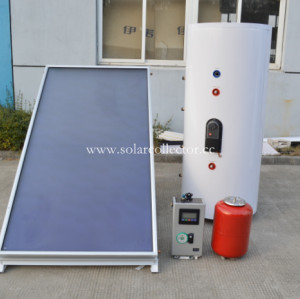 Flat plate split pressurized solar water heater