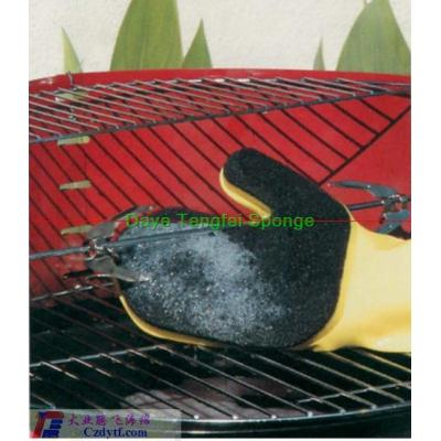 kitchen sponge glove/car cleaning foam sponge/household latex glove with sponge