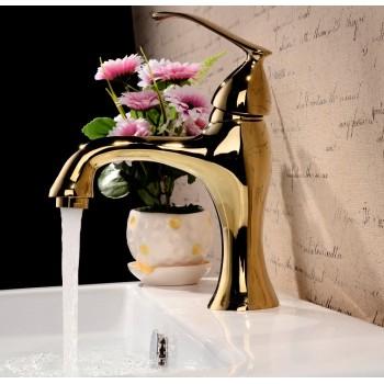 Modern single lever polished brass bathroom faucet