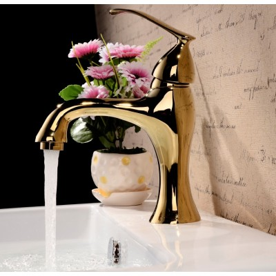 Modern single lever polished brass bathroom faucet