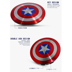 6800mAh Power Bank Battery Dual USB Charger Captain America Shield Charge
