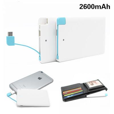 2600mAh Portable Credit Card Power Bank