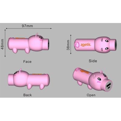2600mAh Custom PVC Power Bank Pig Shape
