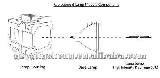 An-a10lp/bqc-pga10x/1 nueva marca digital dlp proyector de la lámpara para proyector pg-a10s