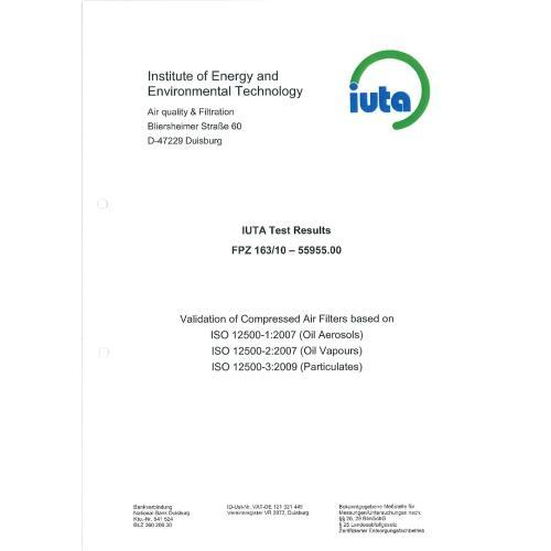 德国IUTA压缩空气过滤器滤芯测试报告