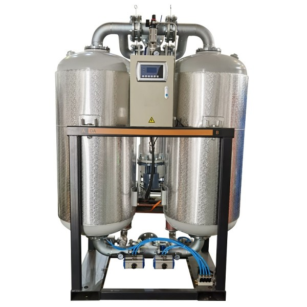 Externally heated regenerative desiccant air dryer