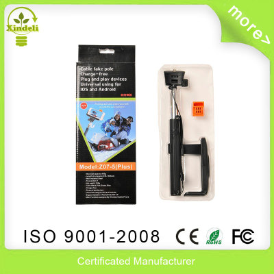 Extendable Selfie Stick Monopod Z07-5 Plus Cable take Pole with Remote Shutter Button + Clip Holder for IOS Android Phones