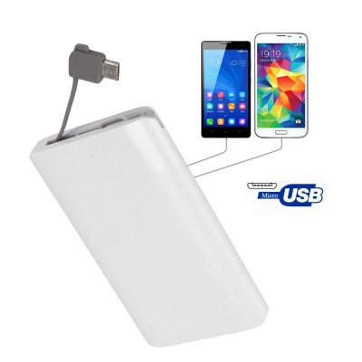 Credit Card Mobile Power Bank 2600 mAh Polymer with Built In USB Cable Pocket Power External Battery Charger