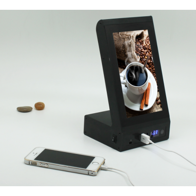 New product free sample Desktop video menu power bank 20000mah for restaurant, coffee house and bars