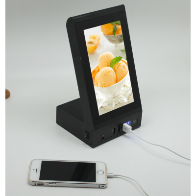2016 New product advertising menu video power bank portable for restaurant, coffee and bars