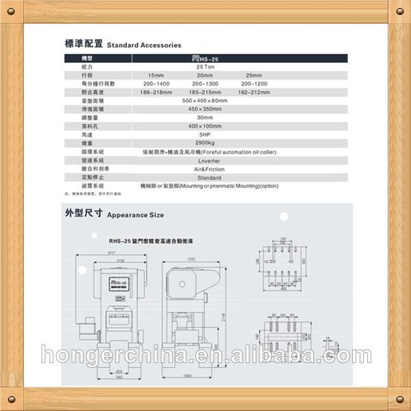 Rhs-25/40空気圧精密シートメタルパンチングマシン