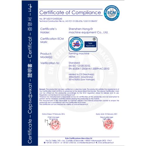 Forming Machine Certyfikat CE