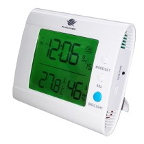 White Indoor Thermometer and Hygrometer with Calendar SH100