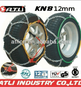 Quick mounting Diamond Type KNB12mm snow chain for passenger car,tire chain,anti-skip chain