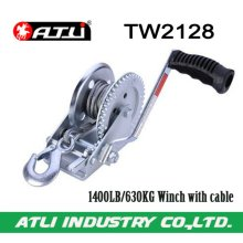 High quality hot-sale 1400LB/630KG Winch with cable TW2128,hand winch