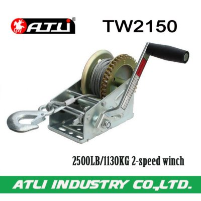 High quality hot-sale 2500LB/1130KG 2-speed winch TW2150,hand winch small